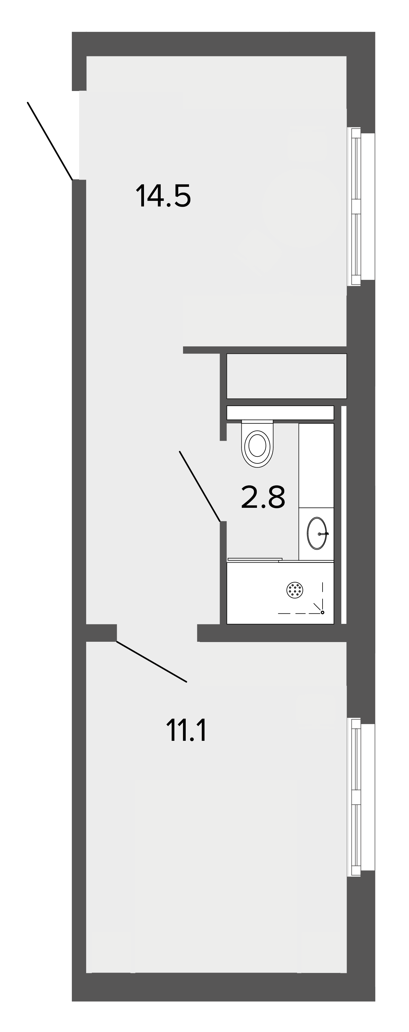 1-комнатная квартира, 28.1 м²; этаж: 4 - купить в Санкт-Петербурге