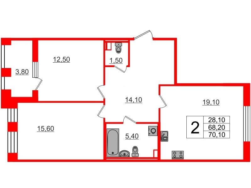 2-комнатная квартира, 68.2 м²; этаж: 2 - купить в Санкт-Петербурге
