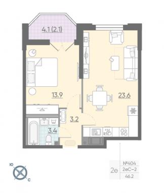 1-комнатная квартира №42 в: Цивилизация на Неве: 46.2 м²; этаж: 7 - купить в Санкт-Петербурге
