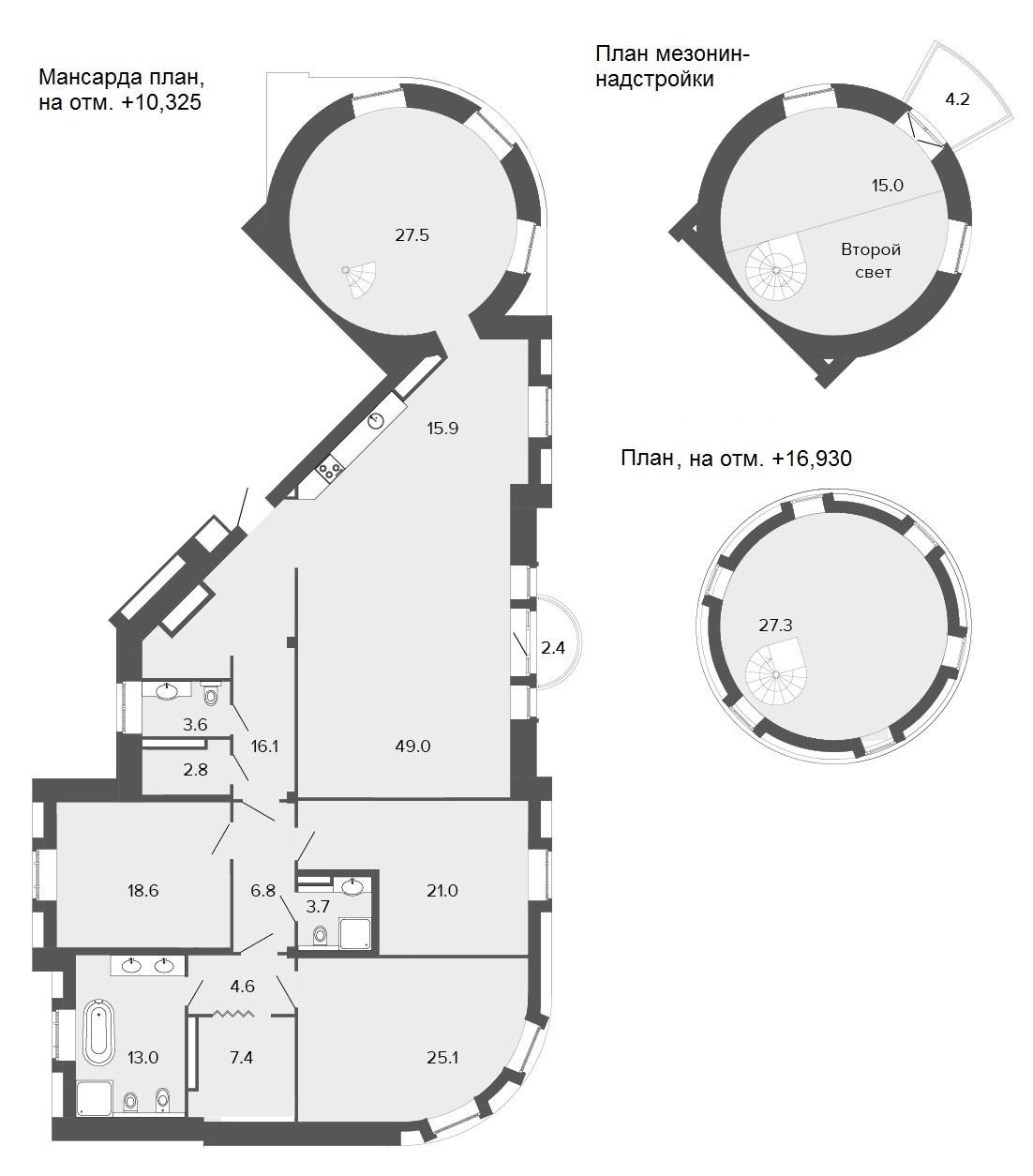 6-комнатная квартира, 257.4 м²; этаж: 4 - купить в Санкт-Петербурге