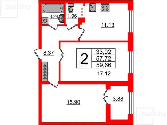 2-комнатная квартира №26 в: Петровский квартал на Неве: 58 м²; этаж: 6 - купить в Санкт-Петербурге