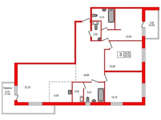 3-комнатная квартира, 104.54 м²; этаж: 19 - купить в Санкт-Петербурге
