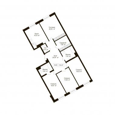 4-комнатная квартира, 132.27 м²; этаж: 2 - купить в Санкт-Петербурге
