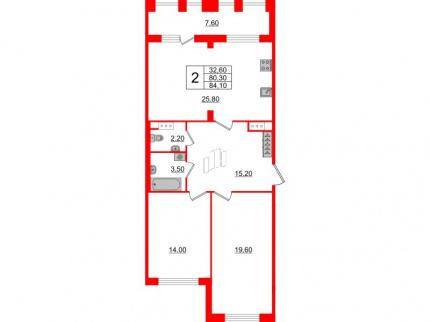 2-комнатная квартира №3 в: Светлана парк: 80.3 м²; этаж: 10 - купить в Санкт-Петербурге