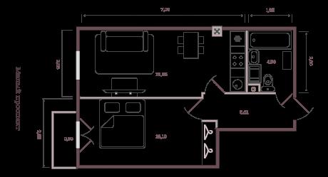 1-комнатная квартира №63/14А в: Monodom на Малом: 46.19 м²; этаж: 3 - купить в Санкт-Петербурге