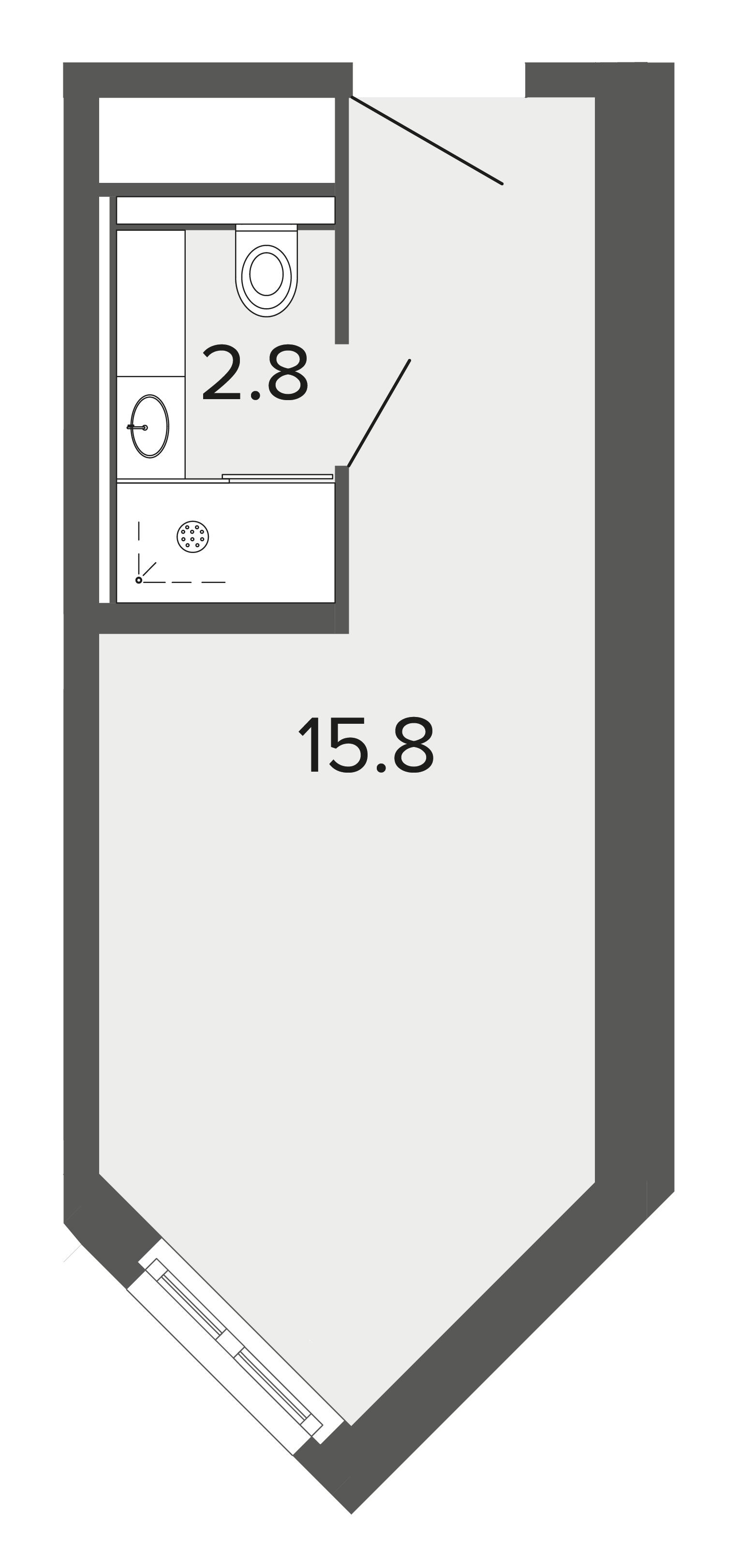 1-комнатная квартира, 18.4 м²; этаж: 2 - купить в Санкт-Петербурге