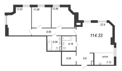 3-комнатная квартира, 114.33 м²; этаж: 9 - купить в Санкт-Петербурге