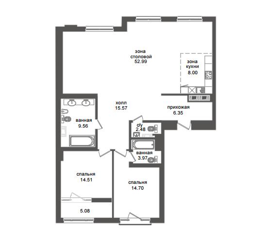 2-комнатная квартира №32А в: Приоритет: 129.84 м²; этаж: 6 - купить в Санкт-Петербурге
