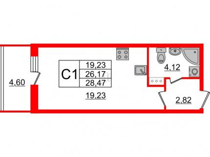 1-комнатная квартира №66 в: Притяжение: 26.17 м²; этаж: 6 - купить в Санкт-Петербурге