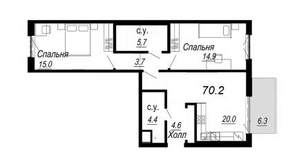 2-комнатная квартира №27 в: Meltzer Hall: 70.2 м²; этаж: 3 - купить в Санкт-Петербурге