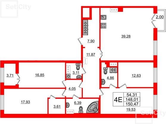 3-комнатная квартира №26 в: Петровский квартал на Неве: 149.1 м²; этаж: 6 - купить в Санкт-Петербурге