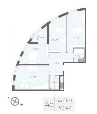 3-комнатная квартира №14 в:  Морская набережная.SeaView II очередь: 90.47 м²; этаж: 6 - купить в Санкт-Петербурге