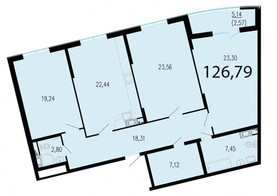 3-комнатная квартира №1 в: ЖК Пять звезд: 128.8 м²; этаж: 4 - купить в Санкт-Петербурге