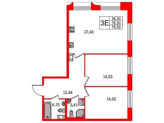 3-комнатная квартира №3 в: ЖК NEOPARK: 76.5 м²; этаж: 10 - купить в Санкт-Петербурге