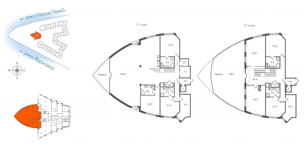 4-комнатная квартира №45 в: ЖК Леонтьевский Мыс: 536.5 м²; этаж: 11 - купить в Санкт-Петербурге