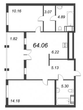 2-комнатная квартира №72 в: ID Moskovskiy: 64.06 м²; этаж: 10 - купить в Санкт-Петербурге