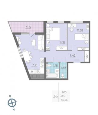 3-комнатная квартира, 59.26 м²; этаж: 15 - купить в Санкт-Петербурге