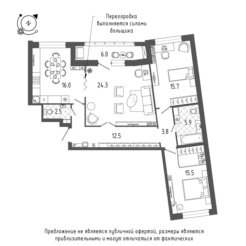 3-комнатная квартира №70 в: ЖК Эталон на Неве: 99.2 м²; этаж: 6 - купить в Санкт-Петербурге