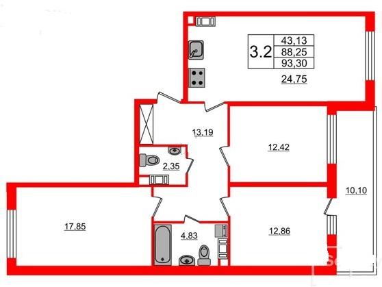 3-комнатная квартира №66 в: Притяжение: 88.25 м²; этаж: 7 - купить в Санкт-Петербурге