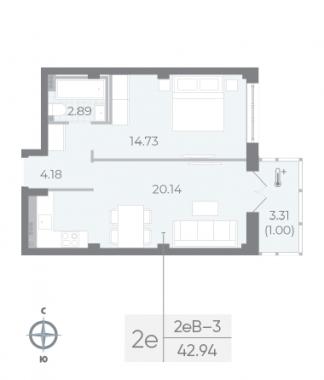 1-комнатная квартира №17А в: Neva Residence: 42.94 м²; этаж: 5 - купить в Санкт-Петербурге