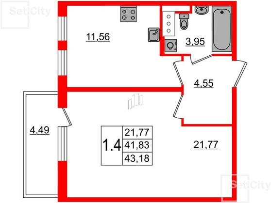 1-комнатная квартира, 41.9 м²; этаж: 3 - купить в Санкт-Петербурге
