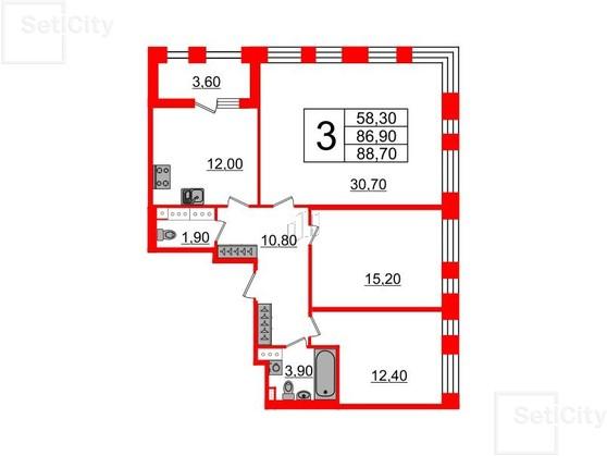 3-комнатная квартира, 86.9 м²; этаж: 7 - купить в Санкт-Петербурге