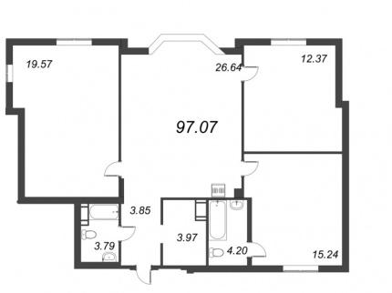 3-комнатная квартира, 89.63 м²; этаж: 8 - купить в Санкт-Петербурге