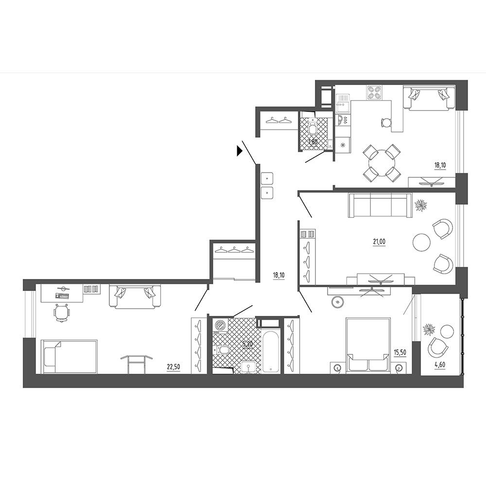 3-комнатная квартира №8к.1 в: Галактика Премиум: 104.5 м²; этаж: 8 - купить в Санкт-Петербурге