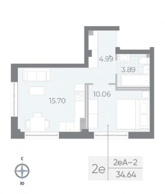 1-комнатная квартира №17А в: Neva Residence: 34.64 м²; этаж: 2 - купить в Санкт-Петербурге