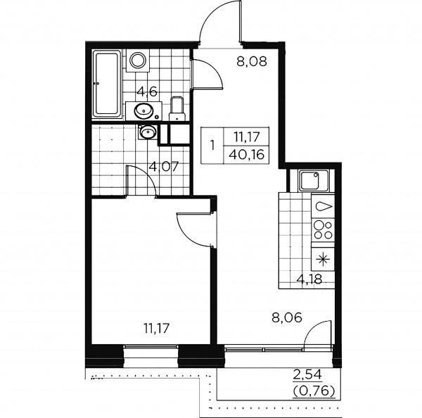 1-комнатная квартира, 40.92 м²; этаж: 9 - купить в Санкт-Петербурге