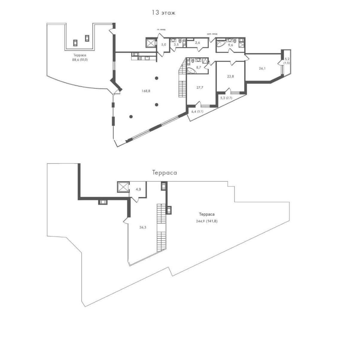 3-комнатная квартира, 424.6 м²; этаж: 13 - купить в Санкт-Петербурге