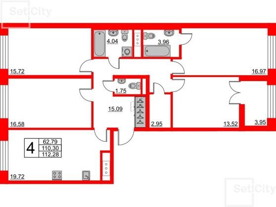 4-комнатная квартира, 110.3 м²; этаж: 8 - купить в Санкт-Петербурге