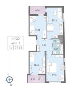 4-комнатная квартира, 79.65 м²; этаж: 14 - купить в Санкт-Петербурге