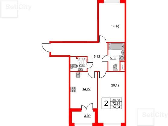 2-комнатная квартира, 72.34 м²; этаж: 2 - купить в Санкт-Петербурге