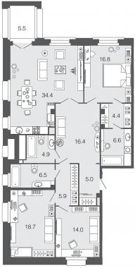 3-комнатная квартира, 133.6 м²; этаж: 3 - купить в Санкт-Петербурге