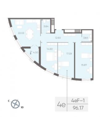 3-комнатная квартира №14 в:  Морская набережная.SeaView II очередь: 96.17 м²; этаж: 8 - купить в Санкт-Петербурге