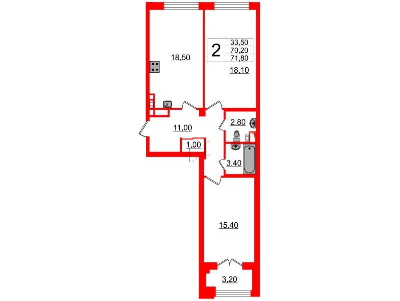 2-комнатная квартира №7 в: Victory Plaza: 70.2 м²; этаж: 2 - купить в Санкт-Петербурге