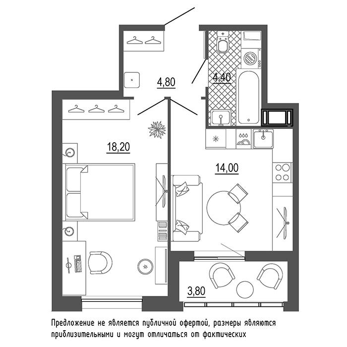 1-комнатная квартира, 43 м²; этаж: 3 - купить в Санкт-Петербурге