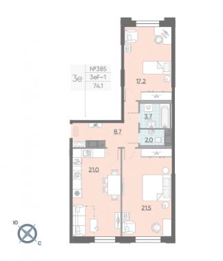2-комнатная квартира №42 в: Цивилизация на Неве: 74.1 м²; этаж: 4 - купить в Санкт-Петербурге