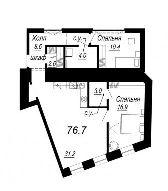 2-комнатная квартира №27 в: Meltzer Hall: 76.7 м²; этаж: 4 - купить в Санкт-Петербурге