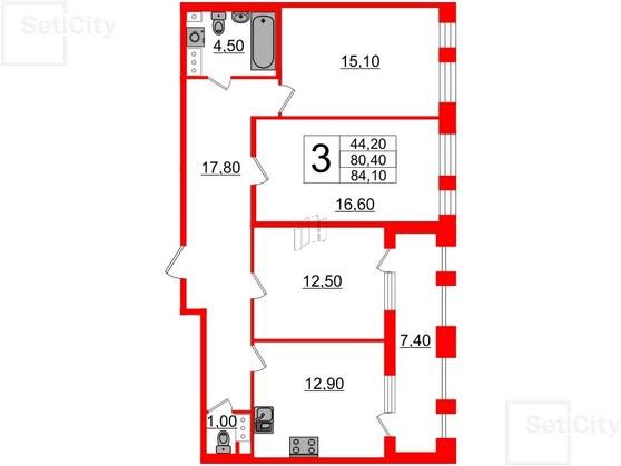 3-комнатная квартира, 80.4 м²; этаж: 8 - купить в Санкт-Петербурге