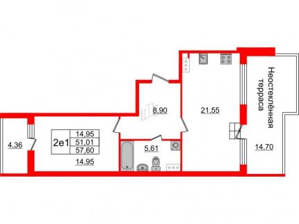 1-комнатная квартира №66 в: Притяжение: 51.01 м²; этаж: 9 - купить в Санкт-Петербурге