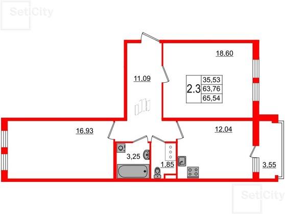 2-комнатная квартира, 64 м²; этаж: 6 - купить в Санкт-Петербурге