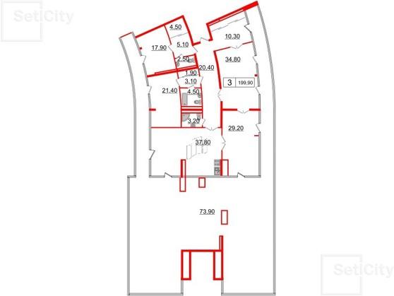 3-комнатная квартира, 199.9 м²; этаж: 7 - купить в Санкт-Петербурге