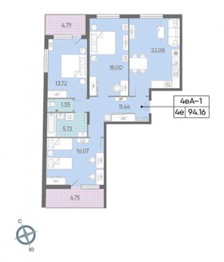 3-комнатная квартира, 94.16 м²; этаж: 2 - купить в Санкт-Петербурге