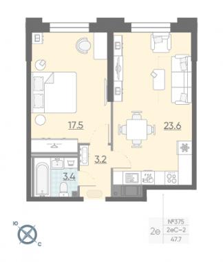1-комнатная квартира №42 в: Цивилизация на Неве: 47.7 м²; этаж: 2 - купить в Санкт-Петербурге