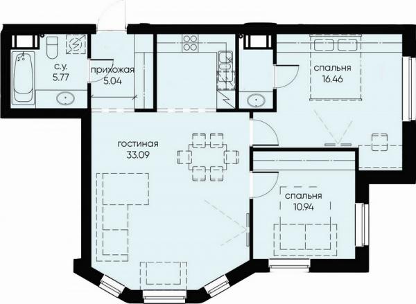2-комнатная квартира №72 в: ID Moskovskiy: 73.31 м²; этаж: 5 - купить в Санкт-Петербурге