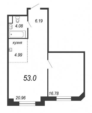 1-комнатная квартира, 53 м²; этаж: 3 - купить в Санкт-Петербурге