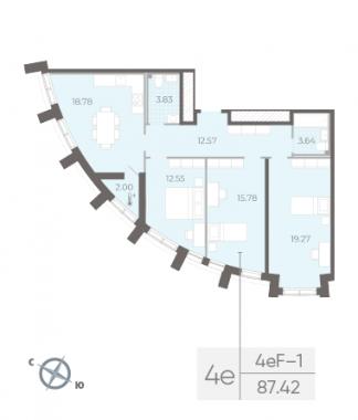 3-комнатная квартира №14 в:  Морская набережная.SeaView II очередь: 87.42 м²; этаж: 2 - купить в Санкт-Петербурге