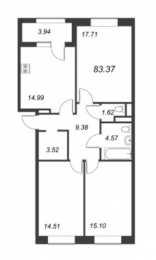 3-комнатная квартира, 83.37 м²; этаж: 13 - купить в Санкт-Петербурге